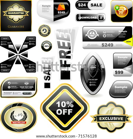 Sale banner and badge templates for internet. Advertising tag and buttons for business.