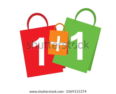 Sale banner Buy one get one free. 1+1 sale banner text on shopping bags