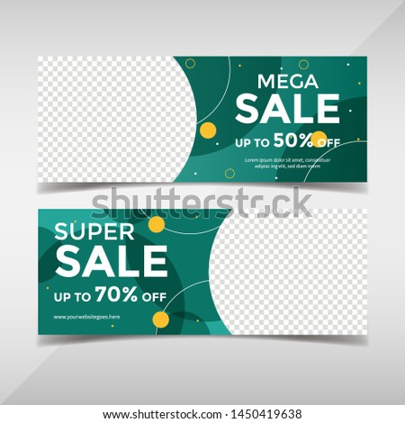 Sale banner collection. Banner template for fashion sale, business promotion with geometric shapes and space for your image. Vol.88