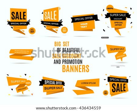 Sale banner design. Big set of beautiful yellow discount and promotion banners. Advertising element. Sale banner tag. Sale banner art. Vector illustration, eps 10