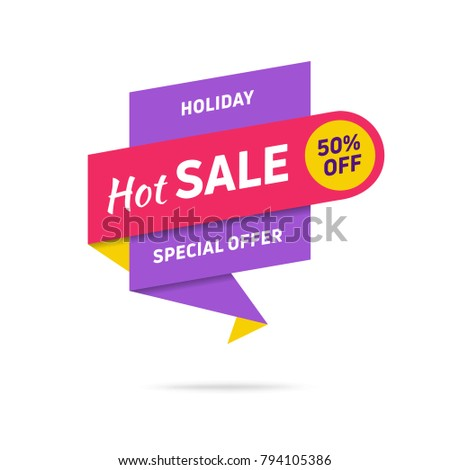 Sale banner design template. Flat origami speech bubble special offer discount vector illustration.