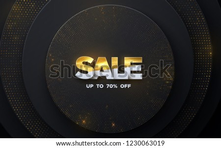 Sale banner design. Vector illustration of paper sale badge textured with golden paint on layered paper black background. Promotional marketing event. Business concept. Discount sign