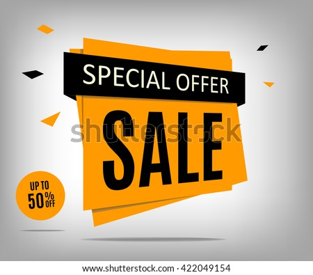 Sale banner design. Yellow special offer banner. Sale poster. Discount label. Discount tag. Promotion image.