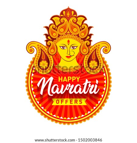 Sale Banner for Indian Festival of Navratri Celebration, Big Navratri Discount Sale Offer Logo design, Sticker, Concept, Greeting Card Template, Icon, Poster, Unit, Label, Web, Mnemonic with Durga Maa