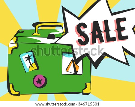 Sale banner in pop art style. Suitcase with rays and comic speech bubble.