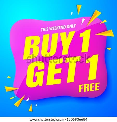 sale banner modern blue.buy 1 get 1 free