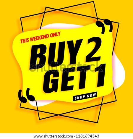 sale banner modern yellow.buy 2 get 1 free