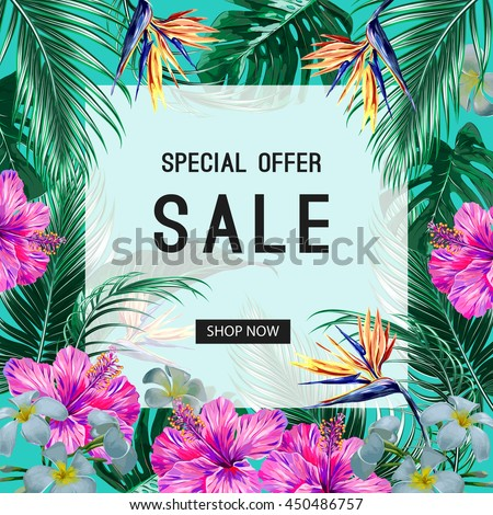 sale banner  poster tropical