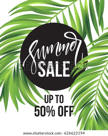 stock-vector-sale-banner-poster-with-palm-leaves-jungle-leaf-and-handwriting-lettering-floral-tropical-summer