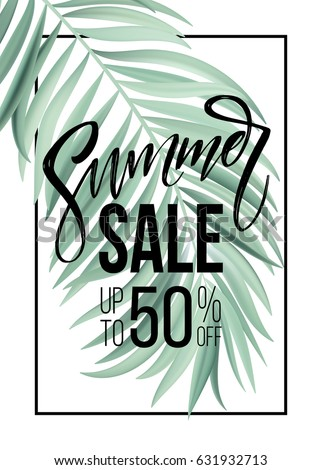 sale banner  poster with palm