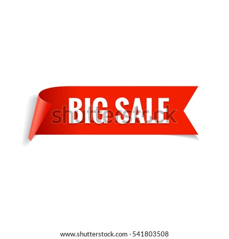 Sale banner. Realistic Red Glossy paper ribbon. Vector illustration
