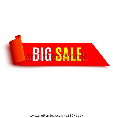 Sale banner. Red realistic ribbon. Paper scroll. Vector illustration.