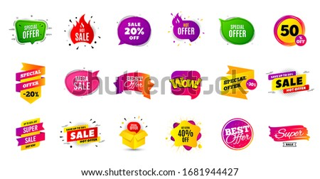 Sale banner tags. Discount price badge. Promotion coupon templates. Black friday shopping icons. Best offer badge. Cyber monday sale banner. Price offer icons. Discount templates. Vector Foto stock ©
