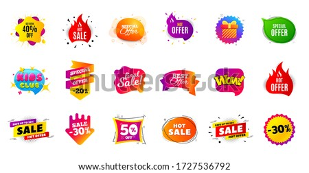 Sale banner tags. Discount price badge. Promotion coupon templates. Black friday shopping icons. Best offer badge. Cyber monday sale banner. Price offer icons. Discount templates. Vector