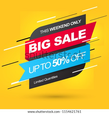 Sale banner template. Big Sale. Save up to 50% off. Vector