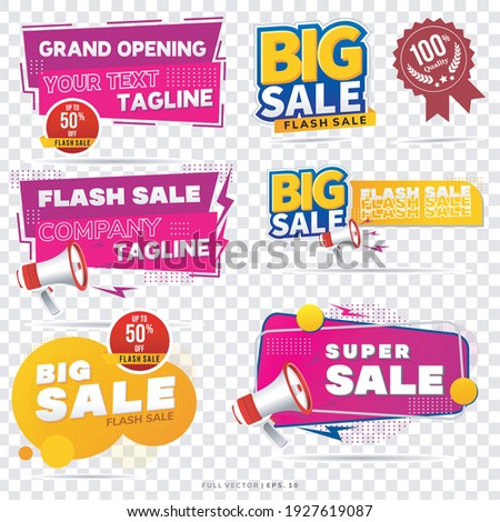 Sale banner template design, Big sale special up to 50% off. Super Sale, end of season special offer banners. vector illustration. grand opening banner Foto stock ©
