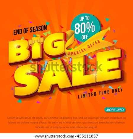 Sale banner template design, Big sale special up to 80% off. vector illustration.