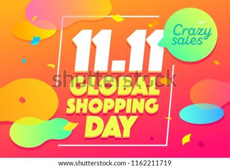 Sale banner template design. Crazy sale special offer. Global shopping festival special offer banner. 11.11 vector illustration.