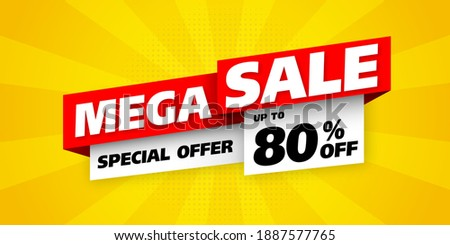 Sale banner template design with comic background , Big sale special up to 80% off. Super Sale, end of season special offer banner. vector illustration. mega sale
