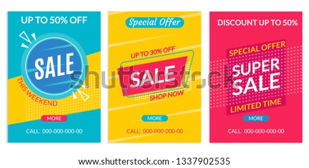 Sale banner template. Discount flyer or poster set. Special Offer and Price off coupon collection for Clearance, Promo, Social media, Marketing in flat style. Vector illustration.