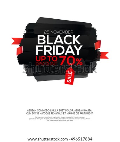 """Sale banner template with inscription """"Black Friday"""" on abstract ink blots."""