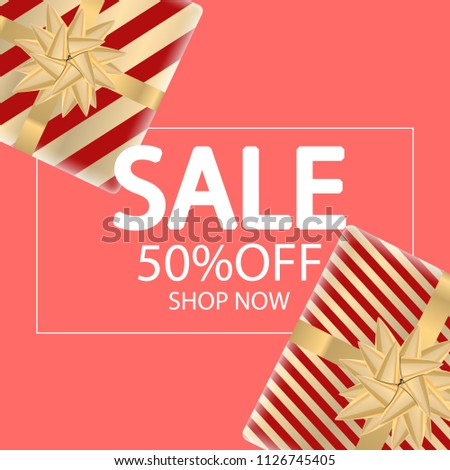 Sale banner with gift boxes. Top view. Vector illustration - Shutterstock ID 1126745405