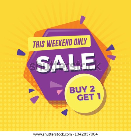 Sale banner with yellow background. Buy 2 get 1