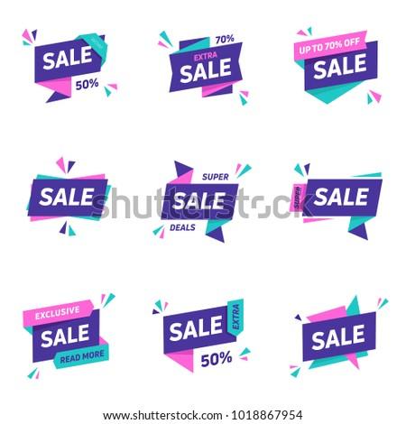 Sale banners design templates set. Flat line geometric speech bubbles special offers discounts vector illustration.