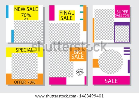 Sale banners, flyers with abstract geometric composition. Modern and vintage social media placard set for mobile website, posters, email and newsletter designs, ads, online shopping, promotional material