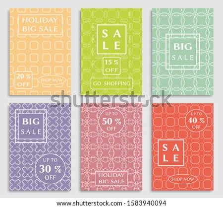 Sale banners, flyers with abstract geometric texture. Modern and vintage social media placard set for mobile website, posters, email and newsletter designs, ads, online shopping, promotional material