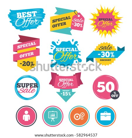 Sale banners, online web shopping. Business icons. Human silhouette and presentation board with charts signs. Case and gear symbols. Website badges. Best offer. Vector