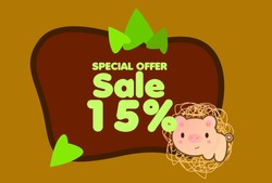 sale 15%, beautiful greeting card background or template banner with cute animal character theme. vector design illustration