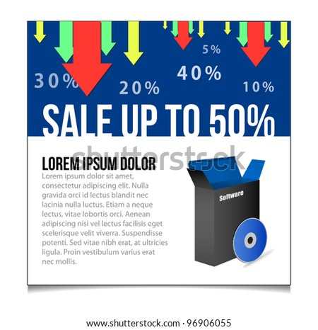 Sale Blu Banner Vector. Showing Products