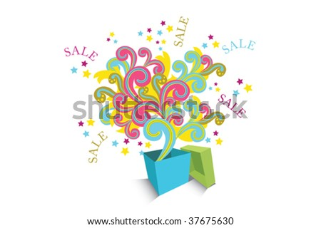 Sale box with colorful elements shooting out. Easy to edit vector image. #37675630