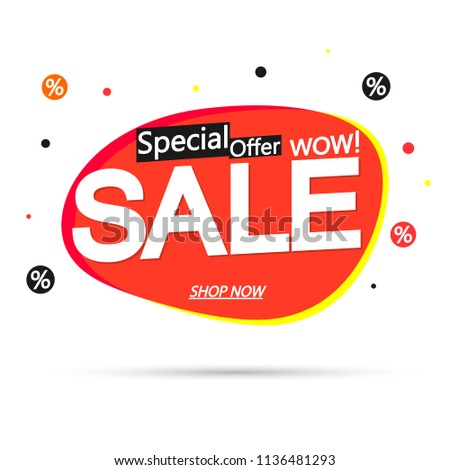 Sale bubble banner design template, discount tag, special offer, app icon, vector illustration #1136481293
