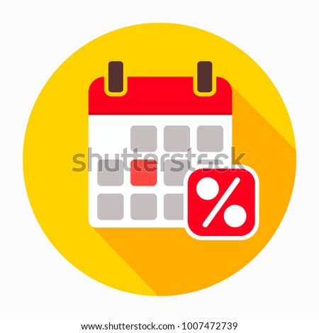Sale calendar date page icon vector, filled flat sign, solid pictogram isolated on white. Symbol, logo illustration