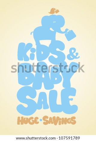 Sale children's things, funny design template.