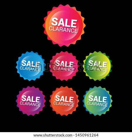 sale clearance - glossy labels or tags. circle sticker with gradient color.trendy color. modern design.set