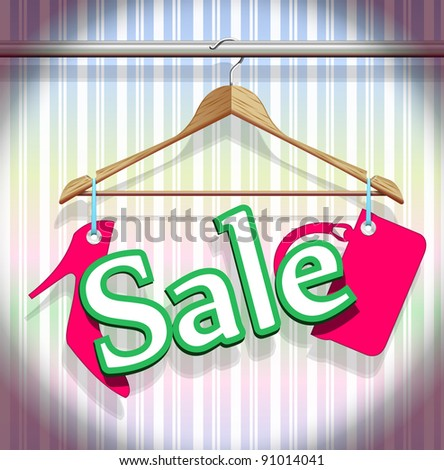 Sale Clothing Hangers in a beautiful vector - stock vector