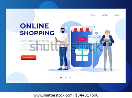 Sale, consumerism and people concept. Young woman and man shop online using smartphone. Landing page template. 3d vector isometric illustration. Character design