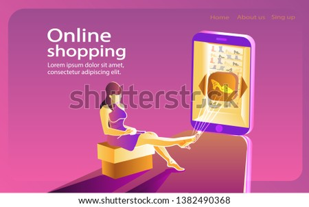 Sale, consumerism and people concept. Young woman are sitting on pouf and fitting on virtual shoes; shoping online using smartphone; virtual shopping. Landing page template.