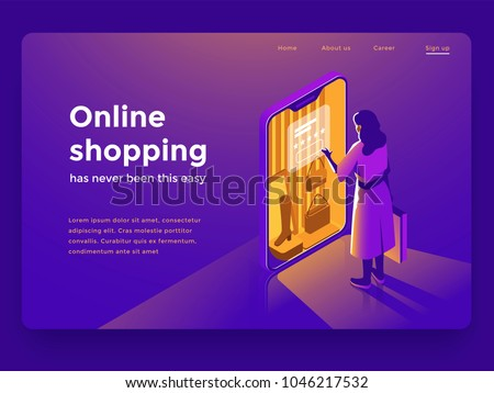 Sale, consumerism and people concept. Young woman shop online using smartphone. Landing page template. 3d vector isometric illustration. - Shutterstock ID 1046217532