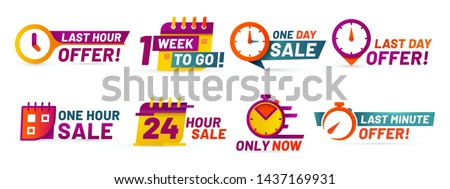 Sale countdown badges. Last minute offer banner, one day sales and 24 hour sale promo stickers. business limited special promotions, best deal badge. Isolated vector icons set Foto d'archivio ©