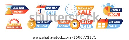 Sale countdown badges. One week sale banner, last day offer, only now, last chance super sale and other promo stickers. business limited special promotions, best deal badge. Isolated vector icons set