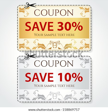 Sale Coupon, voucher, tag. Gold, silver template (vector design) with floral pattern, frame, dotted line (dash line), red percent, scissors (cut off, cutting). Save money, get discount