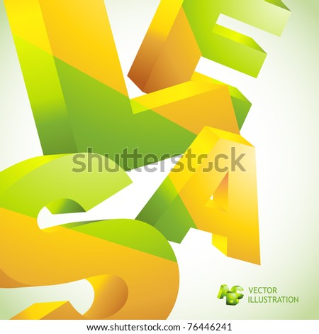 SALE. 3D collage. Vector illustration. Advertise background for shop.