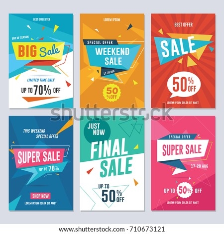 Sale, discount and promotion flyer / banner template. Vector illustration for social media banners, poster, flyer and newsletter designs. Foto d'archivio ©