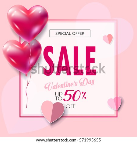 Sale discount banner for Valentines Day. Vector template. Special offer poster with heart balloons, festive background. Love, poster, banner, coupon, voucher, Typography Gift card Advertising design