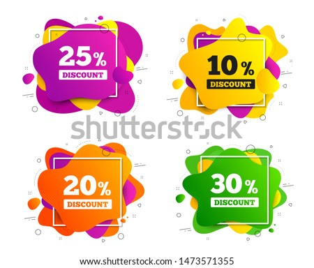 Sale discount icons. Banner shape, various colors. Special offer price signs. 10, 20, 25 and 30 percent off reduction symbols. Geometric vector banner. Gradient liquid shape badge. Vector