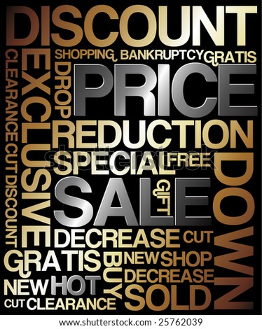 Sale discount poster - metal colors (golden and silver)